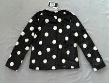 NWT GUESS KIDS BLACK & WHITE FAUX FUR POLKA DOT COAT/ JACKET SZ 10 - GIRLS