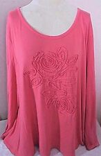 Soft Surroundings Womens Plus 3X Knit Top Coral Pink Long Sleeve Artsy Trim