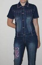 Vintage Denim Jean Stretch Jumpsuit Size 13 Embroidered Made in South Africa