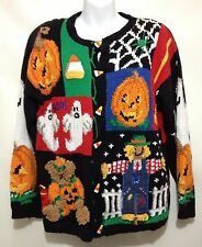 Eagles Eye L Ugly Halloween Sweater Ghosts Pumpkins Spiders Candy Corn Handknit