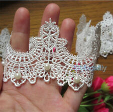 1 yd Vintage Pearl Embroidered Lace Edge Trim Ribbon Wedding Applique DIY Sewing