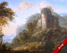FRENCH CASTLE OVERGROWN & IN RUINS LANDSCAPE PAINTING ART REAL CANVAS PRINT