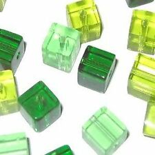 50 pieces 6mm Crystal Glass Square / Cube Beads - GREEN MIX - A3064