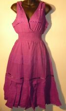 Dress 2X Plus Purple Ribbon Lace EMPIRE Waist V neck Embroidery Sundress 240