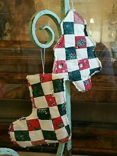 COUNTRY PRIMITIVE PATCHWORK CHRISTMAS STOCKING/TREE ORNAMENTS