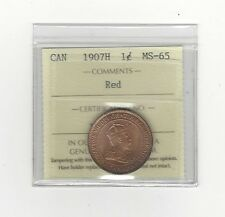 **1907H**, ICCS Graded Canadian,  Large  Cent, **MS-65** WOW!!