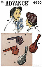 """Hats Fabric Sewing Pattern ADVANCE #4990 Millinery Cap & BAGS 22"""" Chemo Alopecia"""