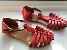 ***ZARA GIRLS SANDALS SHOES EU 28 29 PARTY RED VELCRO USED**