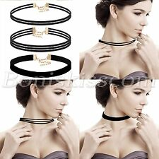 3pcs Women's Vintage Velvet Choker Short Necklace Multilayer Collar Adjustable