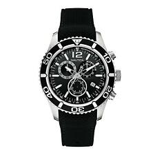 Nautica Men's 43mm Chronograph Black Silicone Stainless Steel Case Watch A15102G