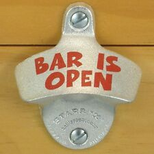 BAR IS OPEN Starr X Wall Mount Stationary Bottle Opener Sturdy Metal Design New