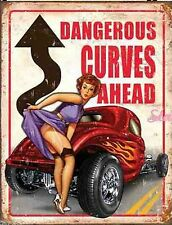 Large Dangerous Curves Ahead American Hot Rod Garage Vintage Metal Tin Sign 1670