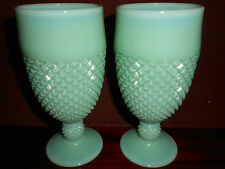 pair of Jadeite green milk glass diamond pattern tumbler cups goblet jadite jade
