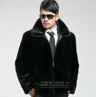 MINK FUR COAT Men's Hooded Parka Collar Short Jacket Winter Warm Coat Outwear Sz