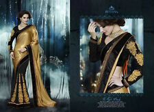 Sari Indian Golden Black Saree Designer Fancy Bollywood Pakistani Traditional