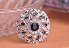 GORGEOUS VINTAGE INSPIRED ANTIQUE SILVER PLATED PURPLE RHINESTONE BROOCH