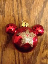 Disney Mickey Icon Glitter Glass Red/Gold Christmas Ornament Brand New