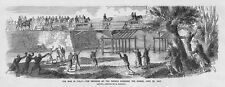 ITALY French Emperor Crossing the Chiese - Antique Print 1859