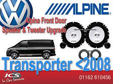 VW Transporter < 2008 Alpine Puerta Altavoz Tweeter Actualización Set 280W