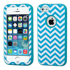 iPhone SE 5S Teal Blue Chevron High Impact Armor Defender Hard&Soft Rubber Case