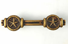 "Double Star Brass Gold 5"" HEAVY Drawer Pull Handle Primitive Western Hammered"