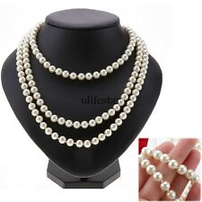 Handmade Long Peach White Baroque Cultured Freshwater Pearl Bead Necklace Chain