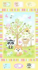 "24"" Fabric Panel - Henry Glass Woodland Cuties Nursery Baby Wallhanging Yellow"