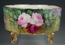LIMOGES FOOTED BOWL  ROSES & GOLD