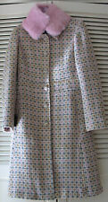 NEW MARCIANO Lightweight Wool Coat w/removable Genuine Rabbit Fur Collar, Sz.S/P