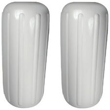 2 Pack 6 Inch x 15 Inch Center Hole White Inflatable Vinyl Fenders for Boats