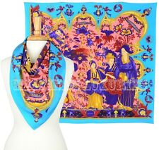 VERSACE FOULARD SQUARE SILK SCARF CHINESE ORNAMENTS MULTI-COLORED PRINT 35x35