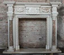 Classic Two Tone Marble Fireplace Mantel includes Ribbon and Floral Design
