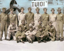 "THE TUSKEGEE AIRMEN AFRICAN AMERICAN WWII PILOTS 8x10"" HAND COLOR TINTED PHOTO"