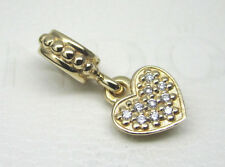 Authentic Pandora #750809D 14k Gold Pave Brilliant Heart with Diamonds Bead