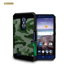Brushed Shockproof Case w/ID Slot Cover for ZTE Max Duo LTE Imperial Max Kirk