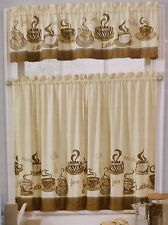 COFFEE THEME CURTAINS 3pc Kitchen Tiers Valance Java Mocha Latte Brown Beige NEW
