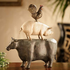 American Folk Art Trio- Cow/Pig/Rooster Sculpture/Statue by SPI Home 33549