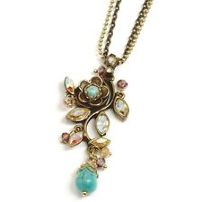 NEW SWEET ROMANCE D'VINE TURQUOISE & CRYSTAL NECKLACE  ~~MADE IN USA~~