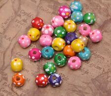 50pcs Mixed color Charm Dot Round Wood Loose Spacer Beads 10x9mm