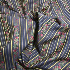 3yds Striking Italian Kravet Navy Floral Stripe Lisere Chair+ Upholstery Fabric
