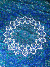 INDIAN COTTON BEDSPREAD TAPESTRY Green & Blue STAR Ethnic Blanket THROW DOUBLE