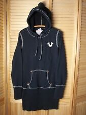True Religion black pullover long hoodie sweatshirt women L large