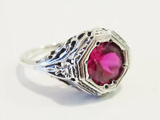 Ruby Solitaire Filigree Ring Sterling Silver Antique Vintage Art Deco Sz 8