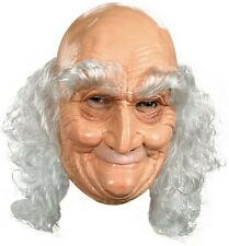 OLD MAN VINYL MASK WITH WHITE HAIR OLD MAN MALE COSTUME LATEX FULL MASKS