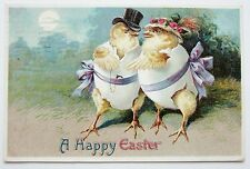 Courting Romantic Dressed EASTER CHICKS Postcard EMB Fantasy