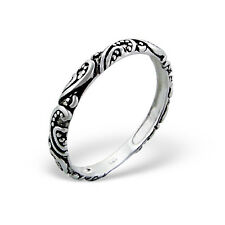 Paisley ossidato STERLING SILVER BAND RING dimensione N