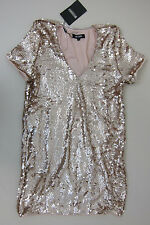 Missguided Sequin Plunge Shift Dress - Womens US 6 - Gold - NWT