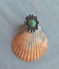 Vintage Fred Harvey Era Silver Stamped Green Turquoise Ring Size 6 1/2