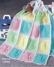 Baby Crochet Pattern Blanket Afghan Cover Kitty Cat Lullaby