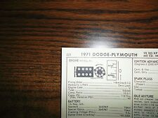 1971 Dodge Plymouth EIGHT Series 385HP 440 CI V8 Special SIXPack Tune Up Chart